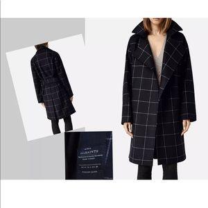 Allsaints ladies IZA oversized blanket wrap coat